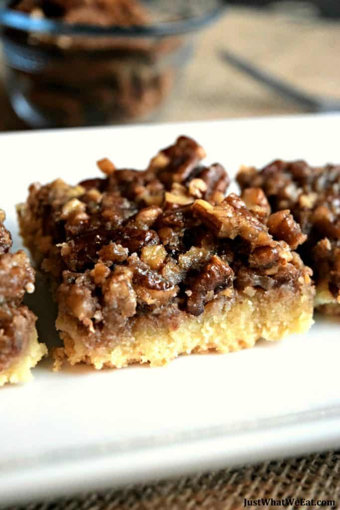 These Healthy Pecan Pie Bars are super easy to make and are the perfect Holiday dessert! They are gluten free, vegan, refined sugar free, and taste amazing!