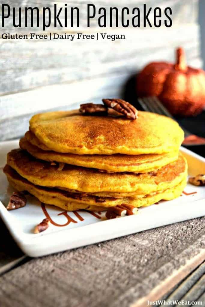 These Pumpkin Waffles and Pancakes are amazing! They are gluten free, vegan, refined sugar free, and the same batter can be used to make pumpkin pancakes or waffles.