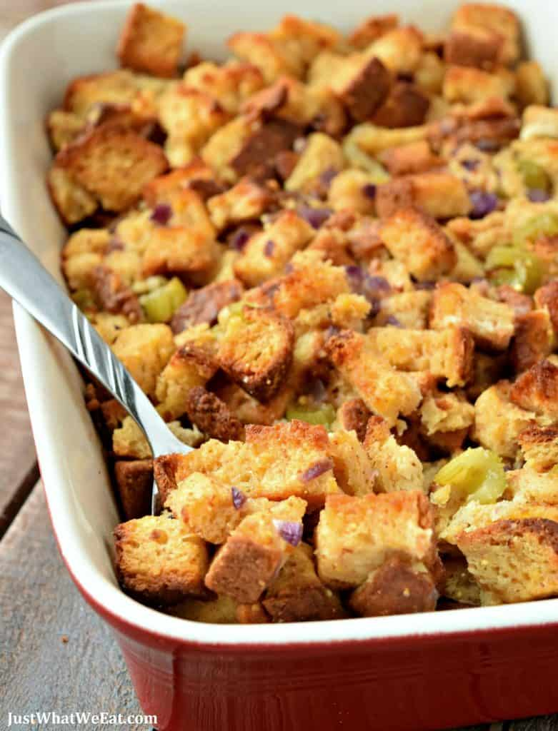 This gluten free and dairy free Stuffing is crispy, salty, and full of SO much flavor. It's easy to make and tastes incredible! #glutenfree #dairyfree #stuffing #thanksgiving #recipes #holiday