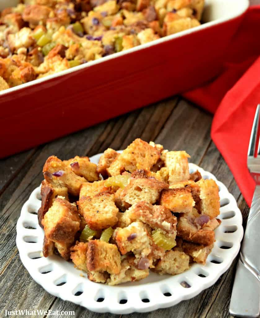 This gluten free and dairy free Stuffing is crispy, salty, and full of SO much flavor. It's easy to make and tastes incredible!