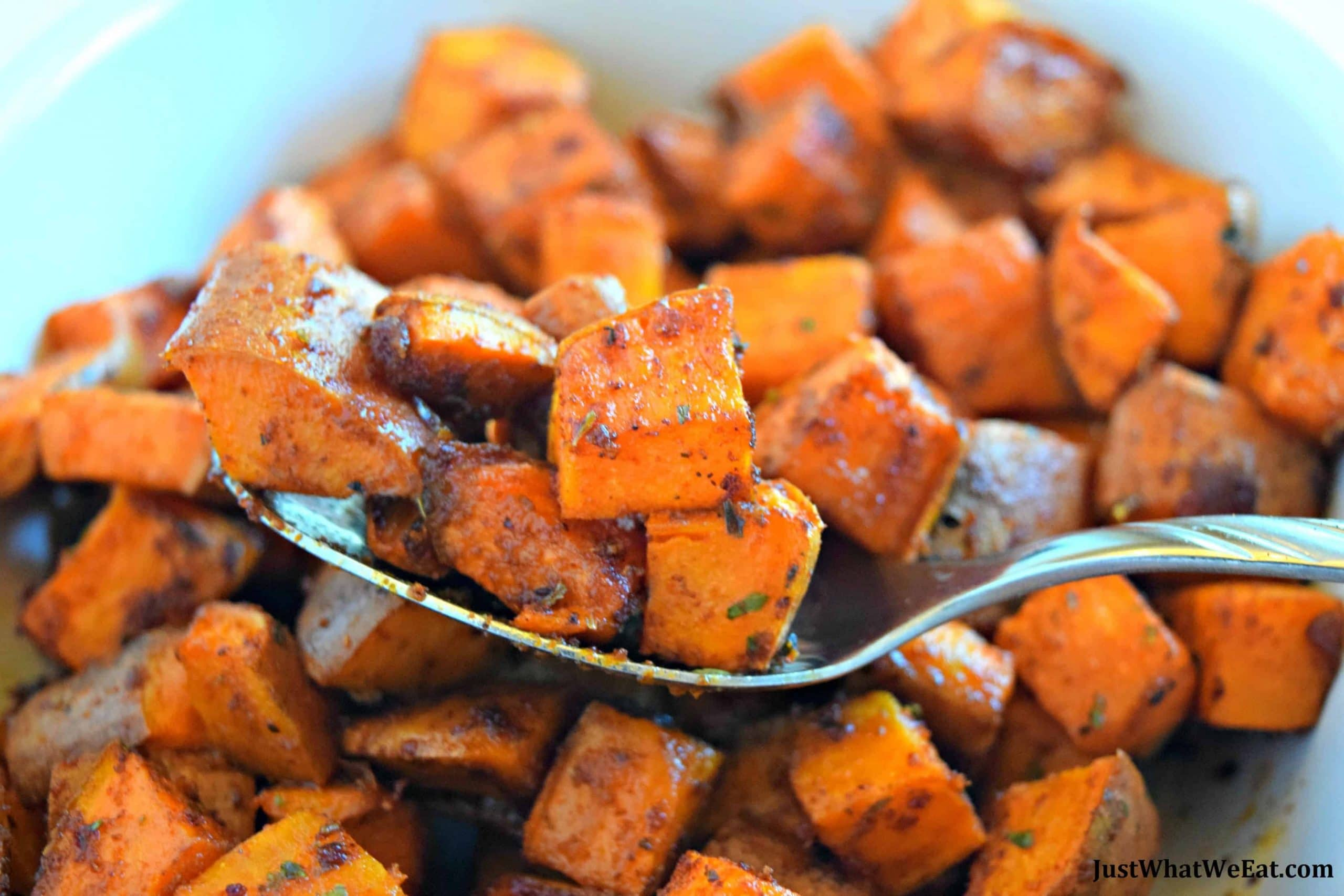 Bbq Roasted Sweet Potatoes Gluten Free Vegan Just What We Eat
