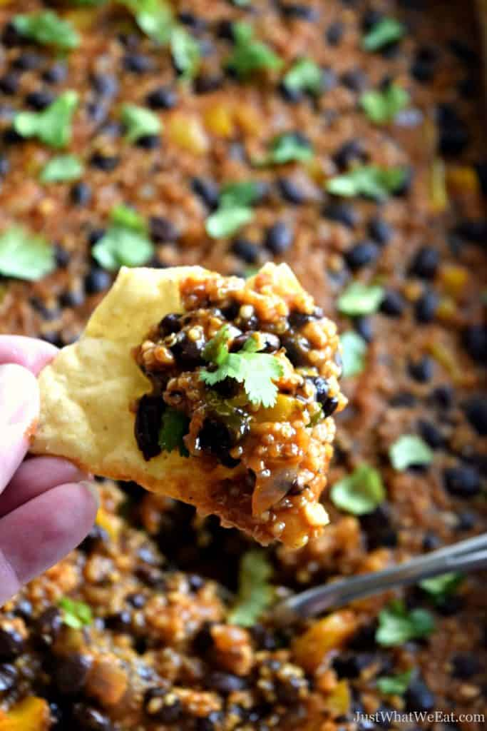 This black bean enchilada bake is one of my favorite gluten free and vegan casseroles! It comes together really quickly and has an amazing flavor!