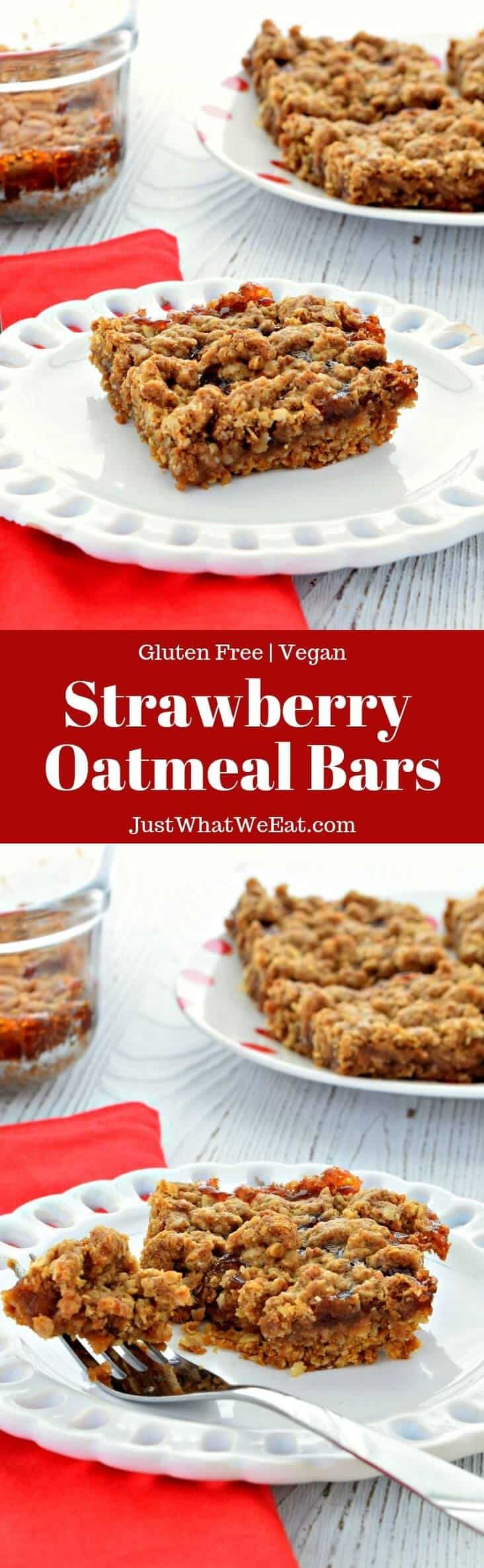 Strawberry Oatmeal Bars - Gluten Free, Vegan
