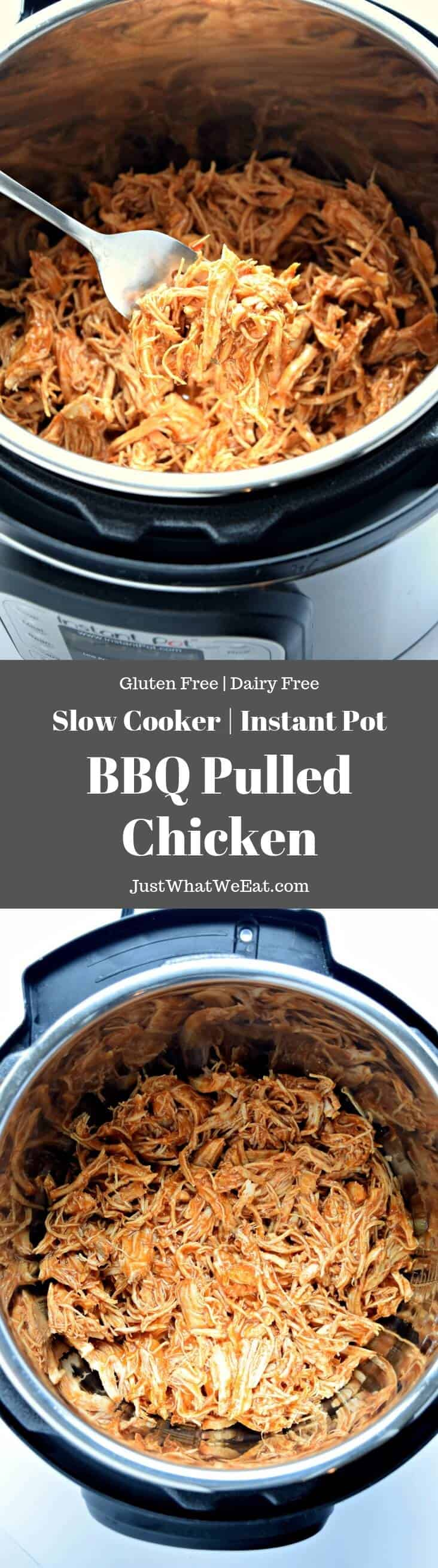 Slow Cooker Instant Pot BBQ Shredded Chicken - Gluten Free & Dairy Free