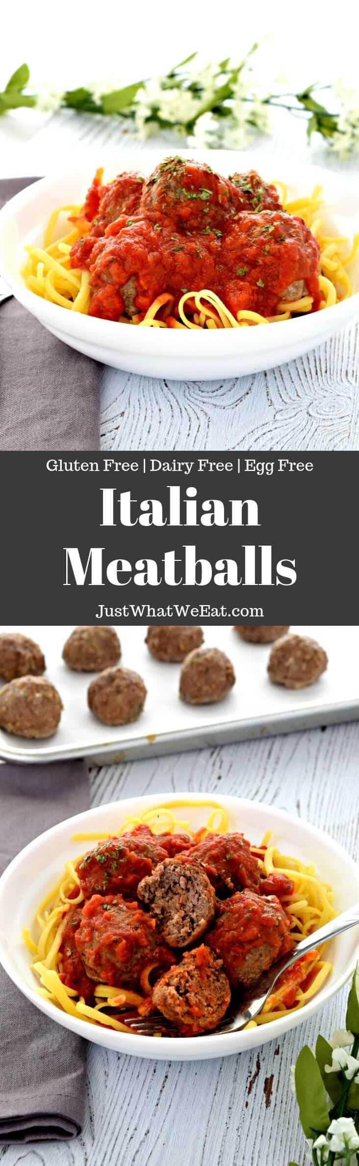 Gluten Free, Dairy Free, and Egg Free Italian Baked Meatballs