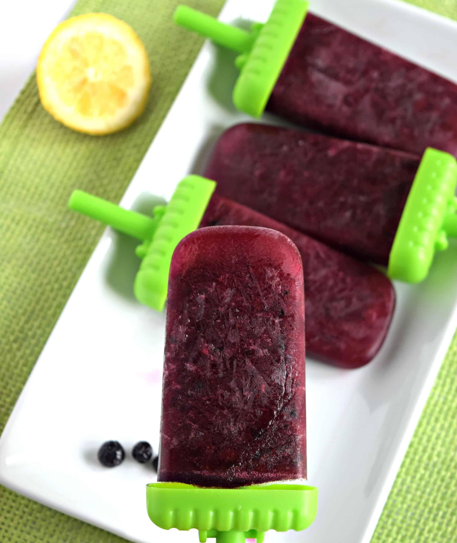Homemade Watermelon Lemon Blueberry Popsicles - Gluten Free, Vegan, & Refined Sugar Free