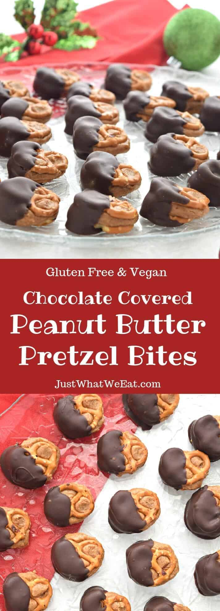 Chocolate Covered Peanut Butter Pretzel Bites - Gluten Free & Vegan
