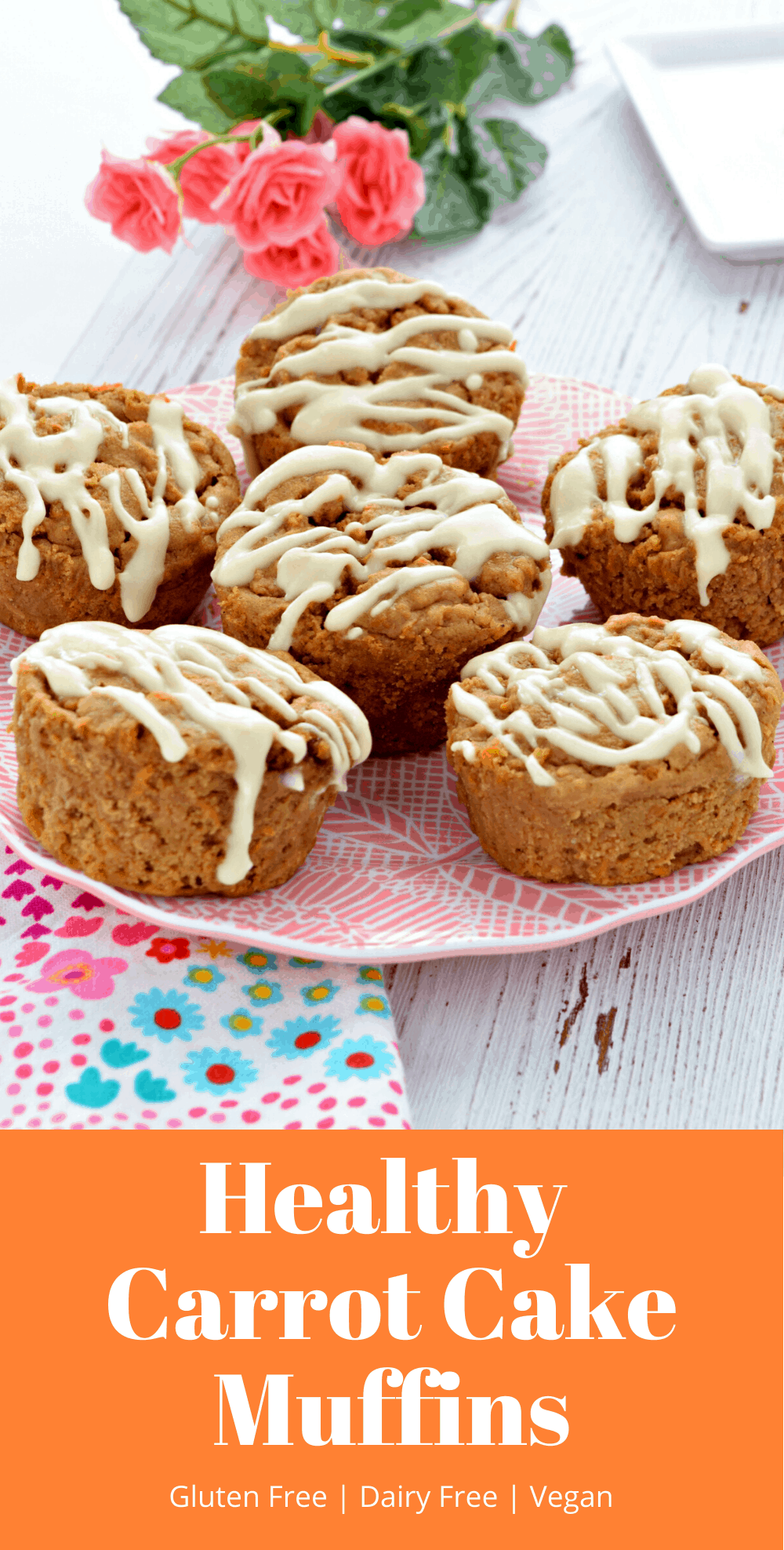 These vegan, refined sugar free, and gluten free carrot cake muffins are so delicious! They are super moist and have a wonderful spice flavor. They are the perfect treat for Easter! #glutenfree #vegan #dairyfree #easter #recipes #carrotcake #healthy #muffins