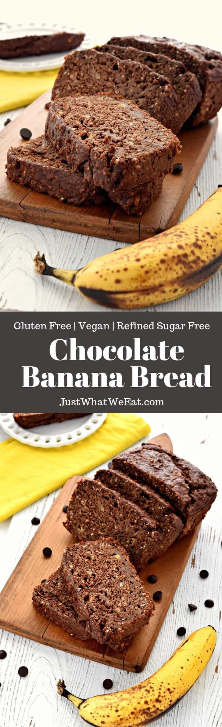Gluten Free, Vegan, and Dairy Free Chocolate Banana Bread