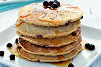 These Healthy Pancakes are made with gluten free oat flour and natural sweeteners making them the perfect breakfast treat! They are also eggless pancakes that are ready in 30 minutes!