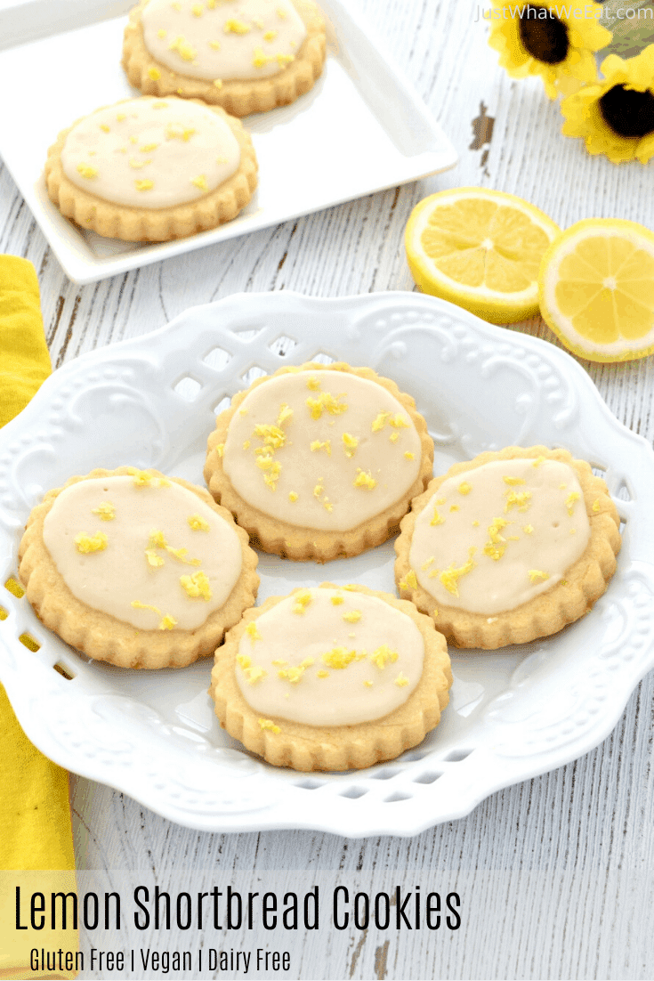 These gluten free and vegan Lemon Shortbread Cookies are SO tasty!  They are super easy to make and they have the most delicious and fresh lemon flavor! #glutenfree #dairyfree #vegan #cookies #lemon #dessert