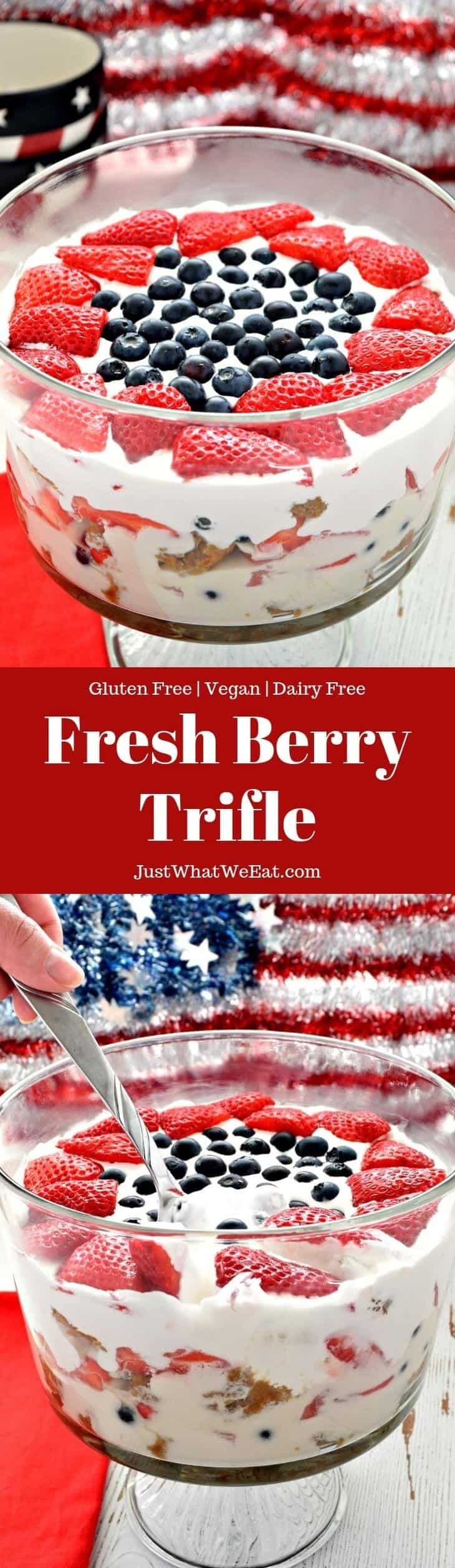 This gluten free and vegan Berry Trifle is perfect for your next family gathering! With layers of gluten free vanilla cake, coconut whipped cream, and fresh fruit, this is sure to be a dessert everyone will enjoy!