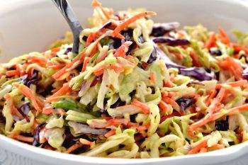 This Creamy Coleslaw is so easy to make and is the perfect side dish for your next Summer BBQ! The Coleslaw Dressing recipe has so much flavor and is ready in just 15 minutes!