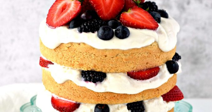 Berries and Cream Vanilla Cake – Gluten Free, Vegan, Refined Sugar Free