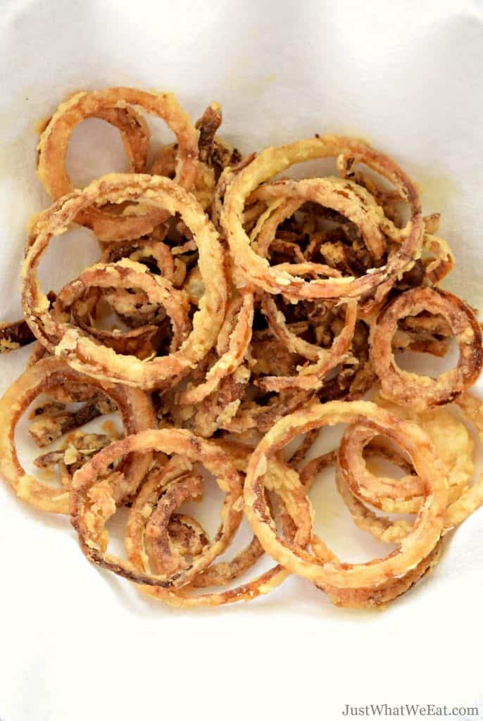 These crispy onion straws are gluten free, dairy free, and taste amazing! They are the perfect topping for your burger, salad, or just to eat as a snack!