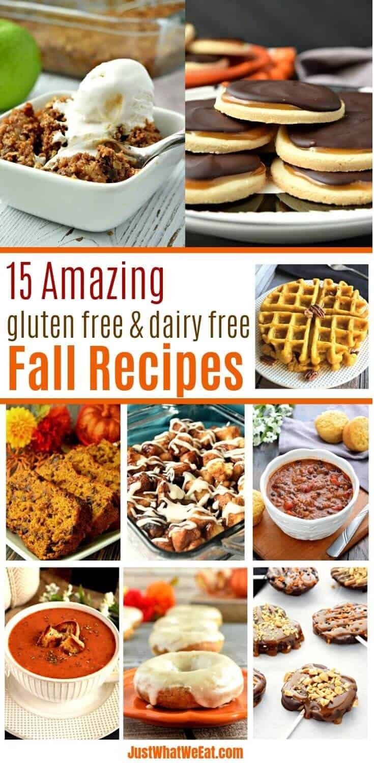 These 15 gluten free and dairy free recipes are perfect for Fall! Don't forget to grab your FREE copy of the Fall Favorites printable e-cookbook!