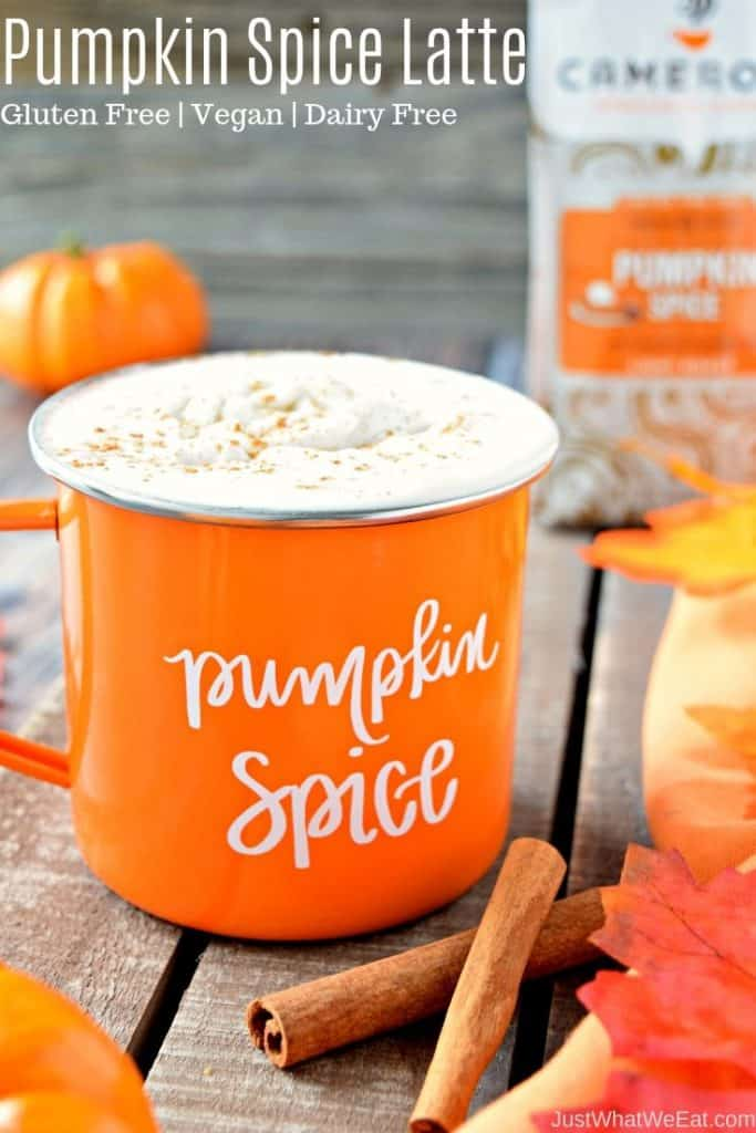 Nothing quite says Fall like these Homemade Pumpkin Spice Lattes! They are so easy to make and taste incredible! They are also gluten free and vegan making them the perfect allergy friendly treat! #glutenfree #dairyfree #vegan #fall #recipes #coffee