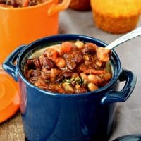 This Gluten Free and Vegan Chili uses simple ingredients and tastes wonderful! It can be made in the slow cooker or Instant Pot and is SO easy to put together! #glutenfree #vegan #dairyfree #eggfree #dinner #chili #easy #recipes