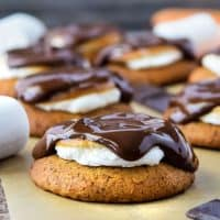 These S'mores Cookies feature a soft graham cookie topped with gooey marshmallow and melted chocolate. They are gluten free, vegan, and taste incredible! #glutenfree #dairyfree #vegan #fall #recipes #dessert #cookies