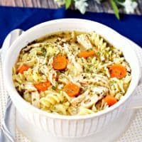 This Chicken Noodle Soup is so easy to make and tastes wonderful! It can be made in the Instant Pot or slow cooker and is naturally gluten free and dairy free! #glutenfree #dairyfree #instantpot #slowcooker #chicken #soup