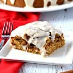 This gluten free and vegan Cinnamon Roll Cake has a wonderful soft texture and has a delicious cinnamon sugar swirl in every bite! #glutenfree #vegan #dairyfree #cinnamonroll #cake #dessert