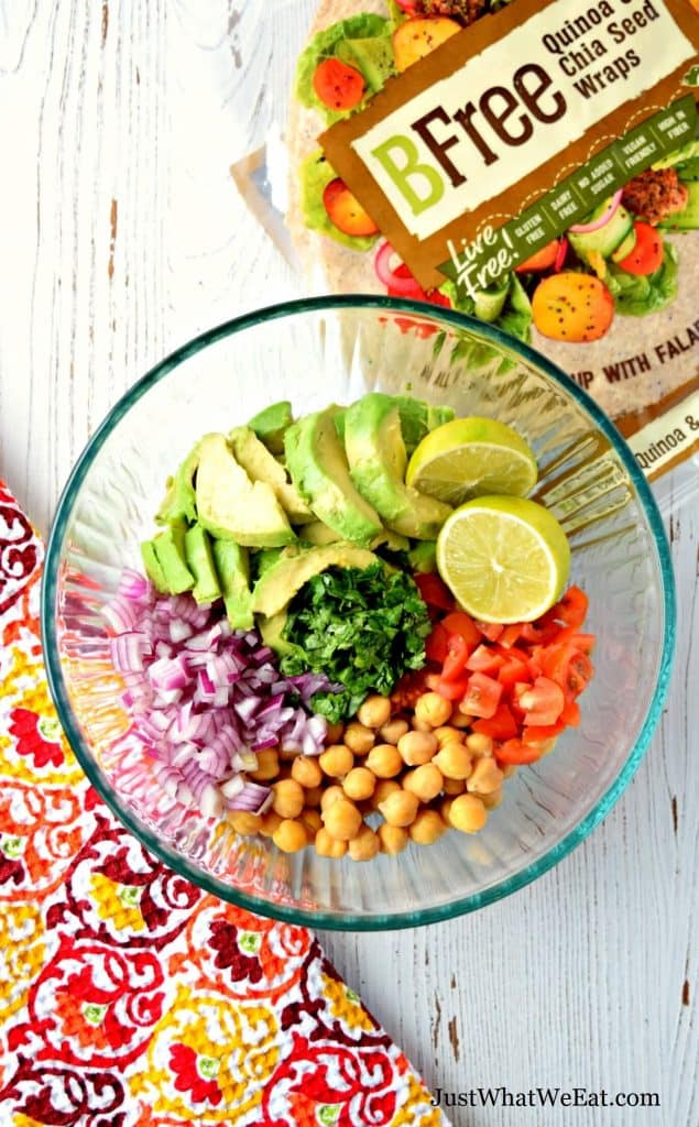 This gluten free and vegan Avocado Chickpea Salad is delicious and super easy to make! It's made with simple and fresh ingredients making this a great healthy meal option! #glutenfree #dairyfree #vegan #eggfree #chickpea #lunchideas #dinner