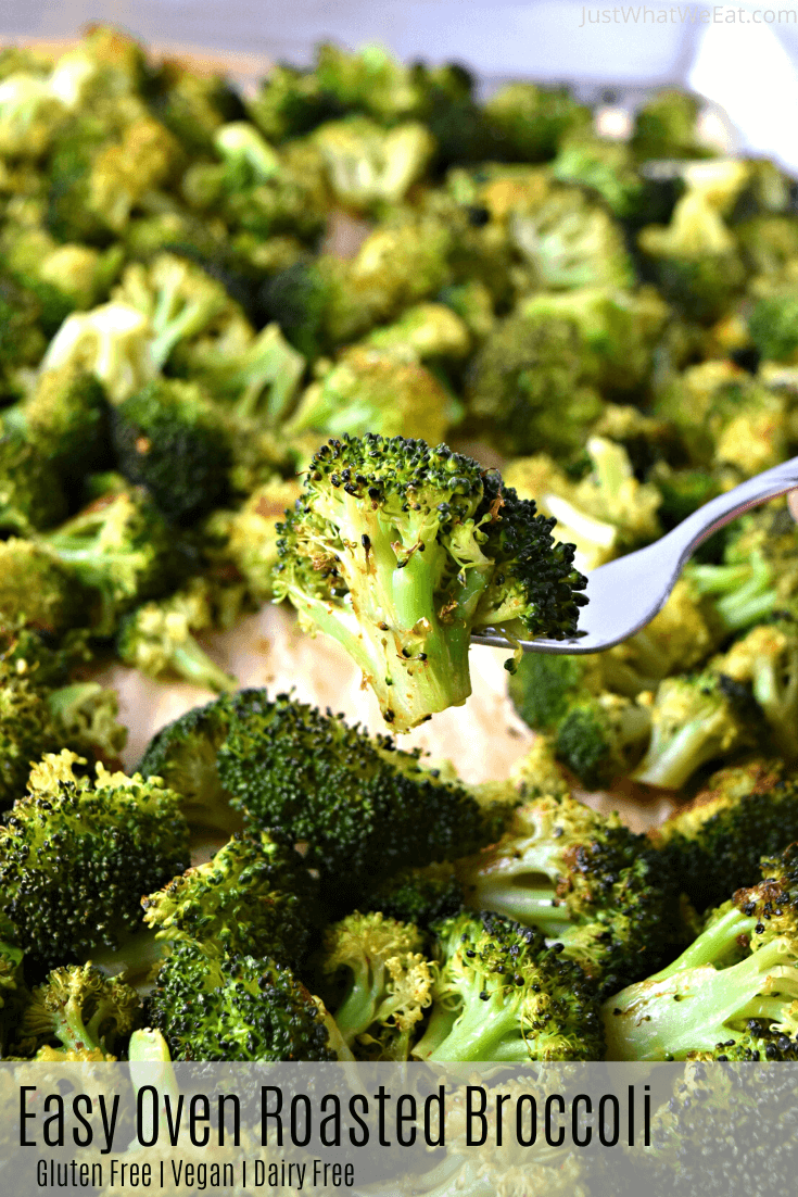 It's so easy to make this Roasted Broccoli in the oven and it tastes incredible! With just a few simple ingredients you can have an amazing side dish ready in no time! #glutenfree #vegan #dairyfree #roastedbroccoli #ovenroastedbroccoli #snacks #sides