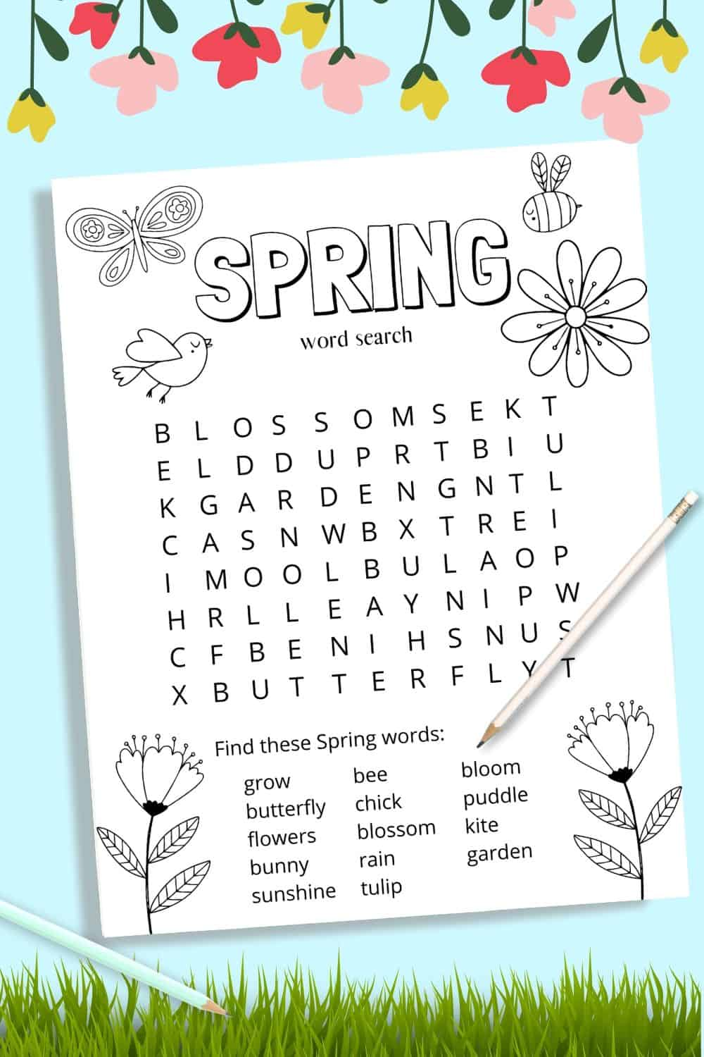 This free spring printable word search for kids is such a fun activity to keep kids busy. Not old do they get to do a word search but they can also color the page for even more fun! #wordsearch #free #printable #kidactivities #funactivities