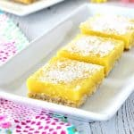 These gluten free, refined sugar free, and vegan Lemon Bars are easy to make and taste amazing! They have such an awesome lemon flavor and creamy texture. #glutenfree #vegan #eggfree #lemonbars #dessert #easy #refinedsugarfree