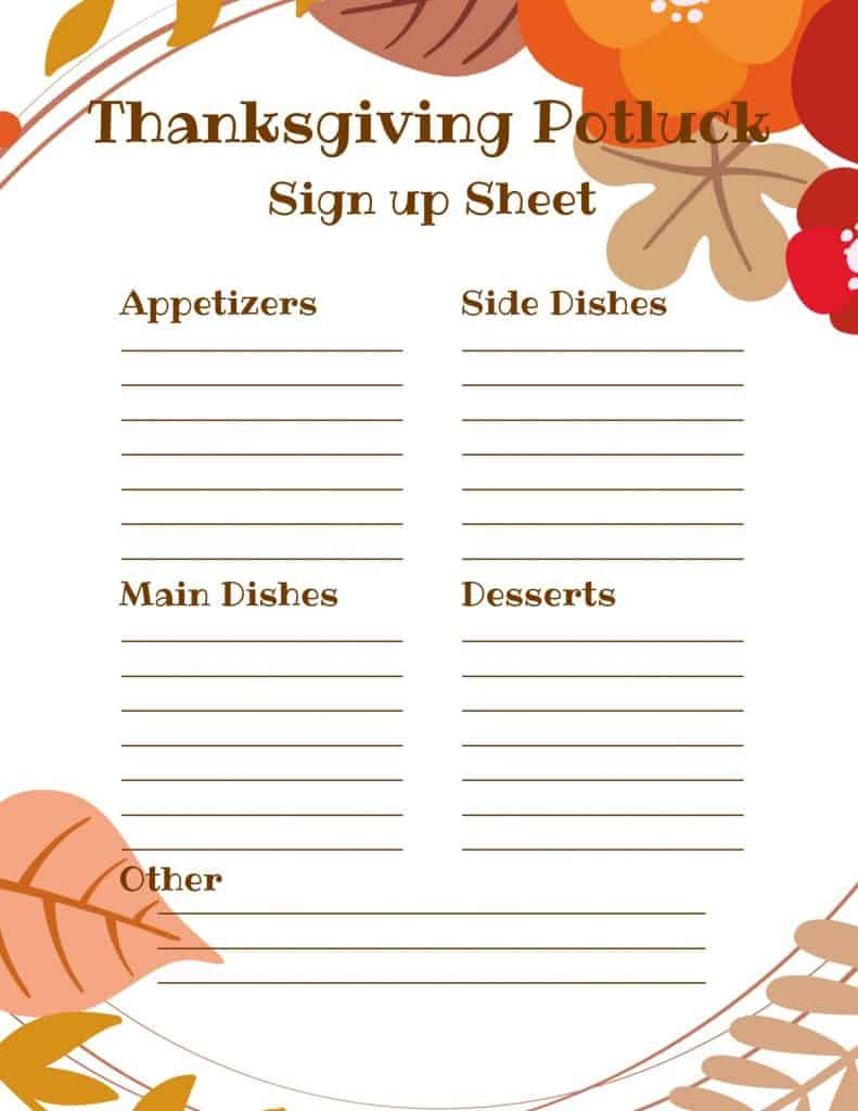 Use this super cute FREE Printable Thanksgiving Potluck Sign up Sheet to keep track of what everyone is bringing to Thanksgiving this year! #thanksgiving #potluck #signup #printable #free