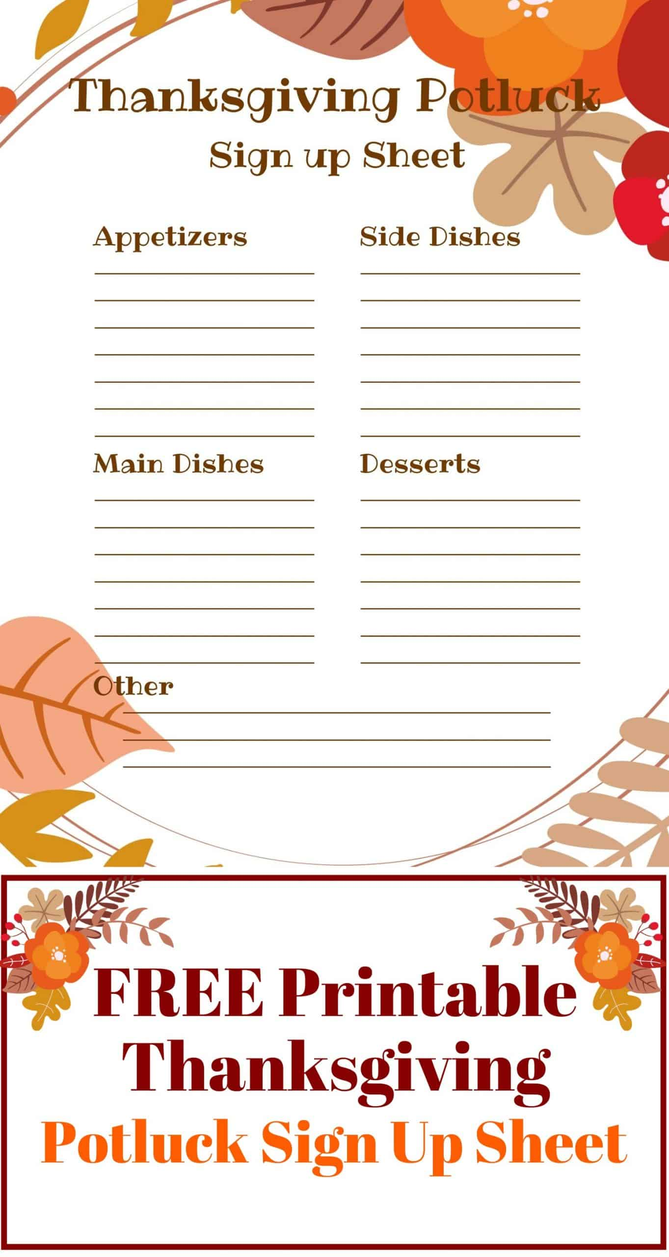 Thanksgiving Potluck Sign Up Sheet Just What We Eat